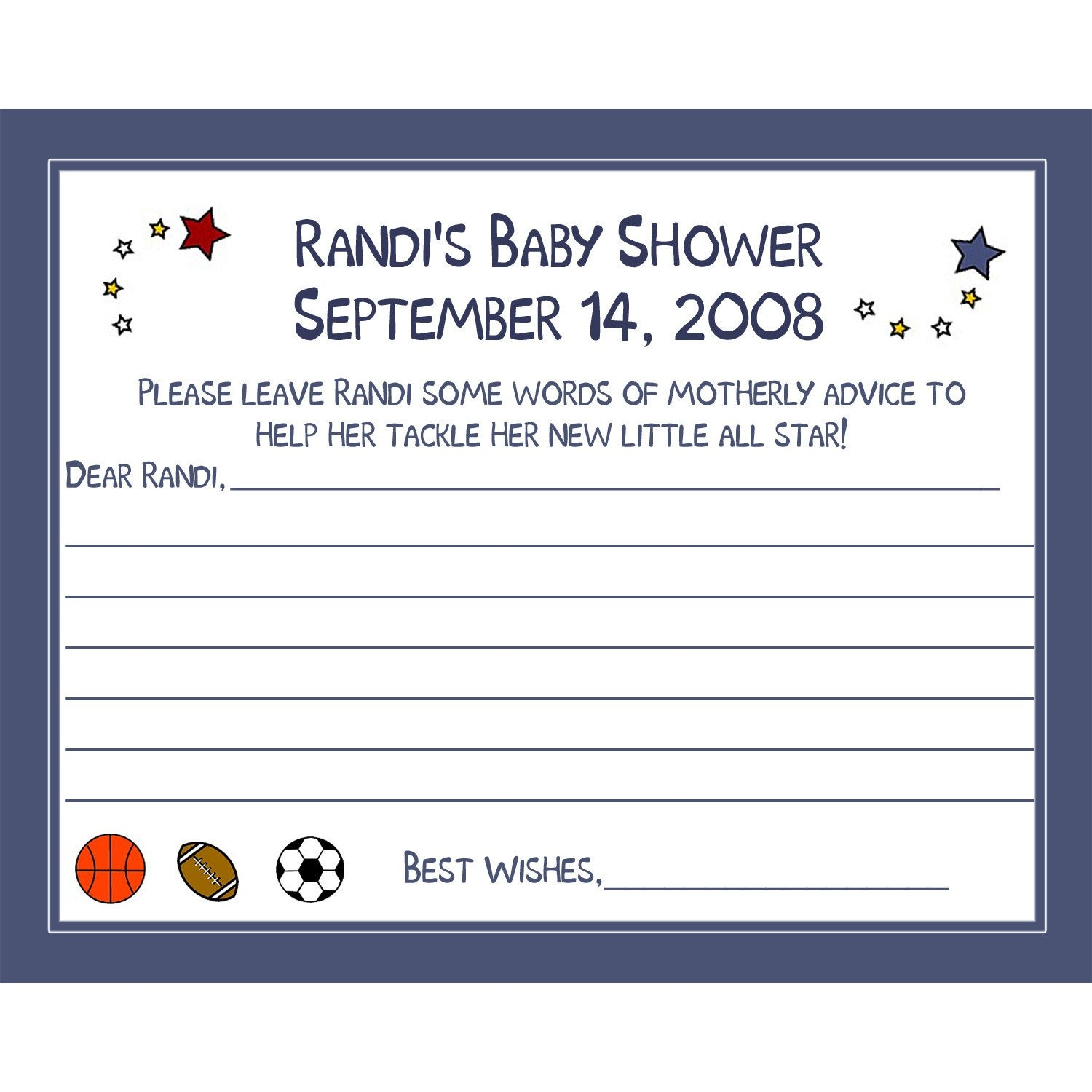 48 baby shower advice cards in the all star sports theme