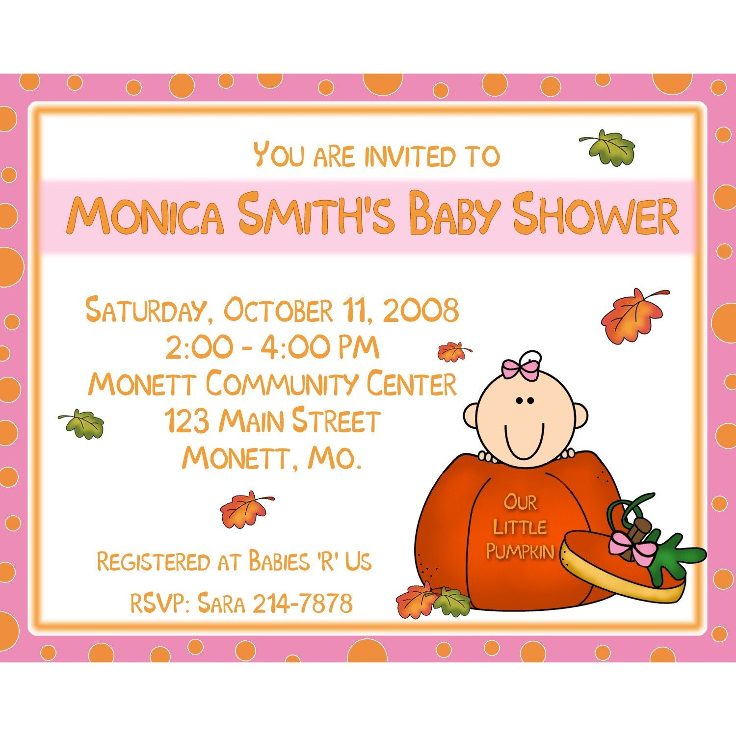Little Pumpkin Baby Shower Invitations was very inspiring ideas you may choose for invitation ideas