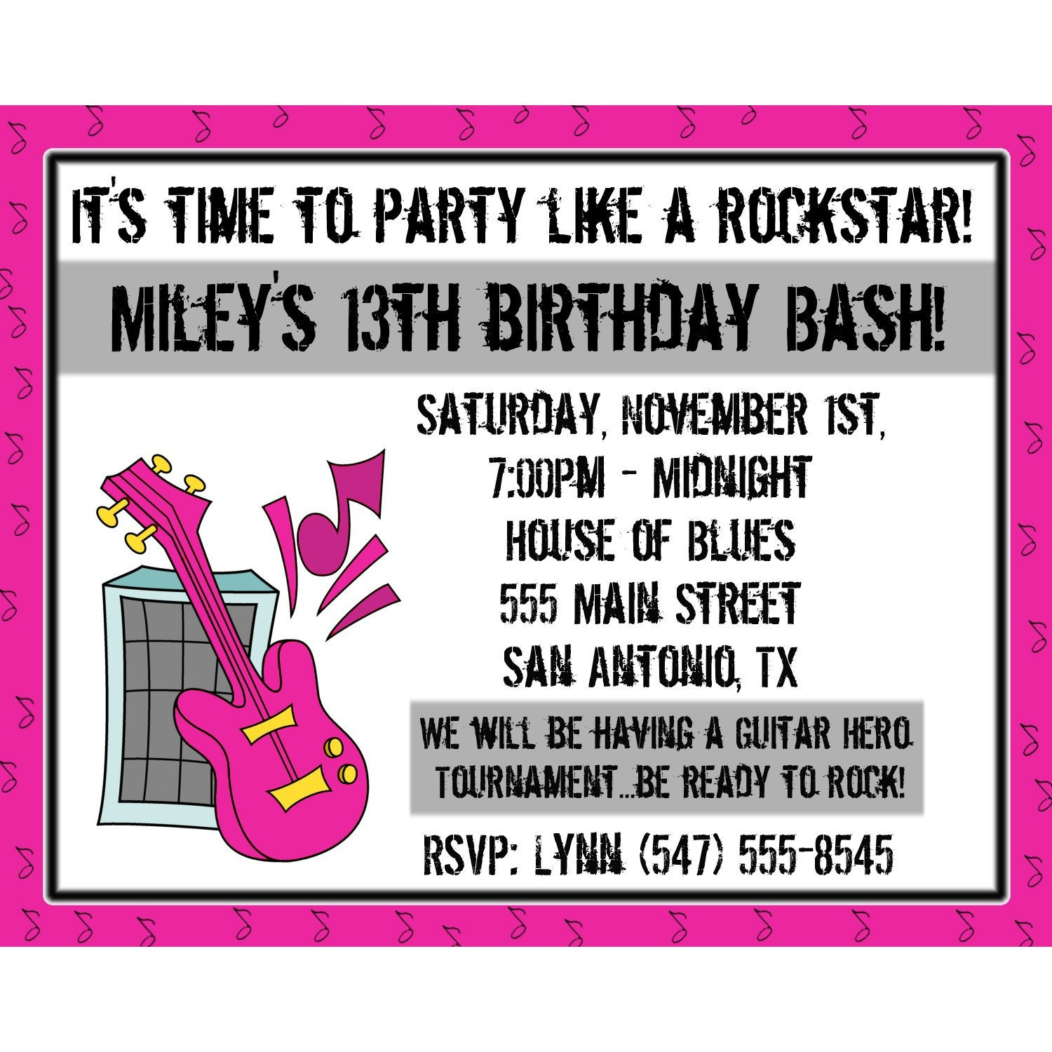 20 Personalized Birthday Invitations PARTY LIKE A ROCKSTAR - Pink ...
