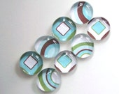 Retro Turquoise and Greens-  Magnets Set of 8 LAST SET