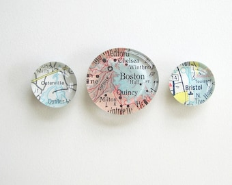 Vintage Map Magnets - Set of Three (you pick the regions)