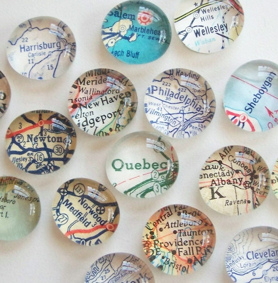 Vintage Map Magnets - Set of Four (you pick the regions) Perfect customized, personalized gift