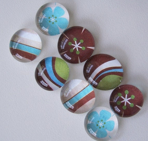 Retro Magnets- turquoise and brown shapes