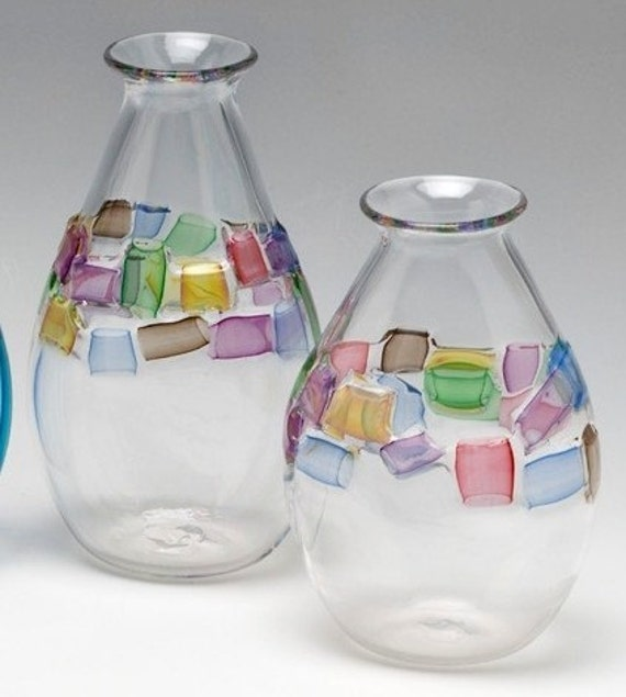 Belted Vase- Squares- small (handblown glass)