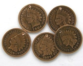 Set of 5 Indian Head Penny Coin Charms