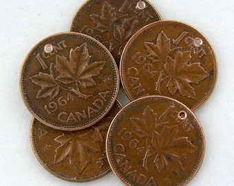 5 MAPLE Leaf  Penny Charms