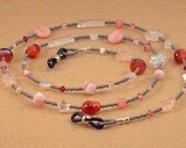 Pink and Gray Beaded Eyeglass Chain