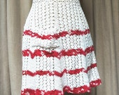 Vintage Crochet Apron Red and Cream