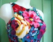 Vintage 80s Bright Floral Sundress M