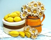 Vintage Homco Cheerful Lemons and Daisies Plaque