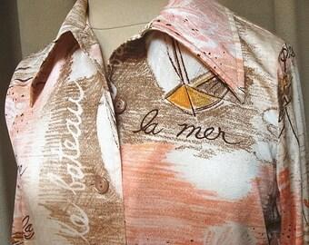 Vintage 70s French Sea Print Shirt Medium