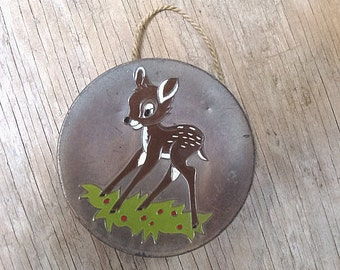 Vintage Metal Bambi Plaque Enameled