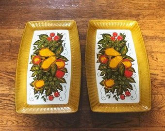 Vintage Harvest Nevco Serving Trays Japan
