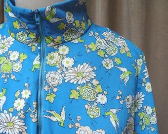 60s/70s Bird of Paradise Print Drop Waist Dress L/XL