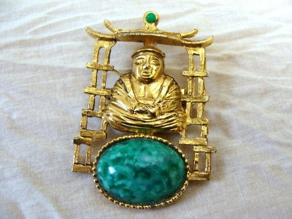 Vintage Buddha Temple Brooch Pin