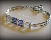 Wedding Jewelry - Swarovski Crystal AB and Tanzanite Bangle Bracelet