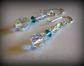 Wedding Earrings - Blue Zircon Swarovski Crystal Bridesmaid Dangle Earrings