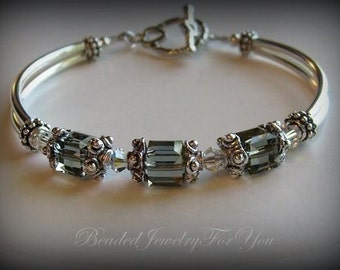 Bridesmaid Gift Set of FOUR: Black Diamond Wedding Bracelet, bridal jewelry, wedding jewelry, bride, wedding set, bridal party gift, bride