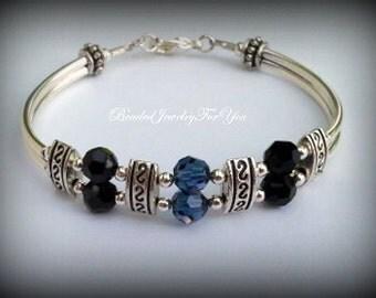 Blue and Black Crystal Beaded Bracelet: montana blue jewelry, black jewelry, black crystal bracelet, black crystal jewelry, blue crystal