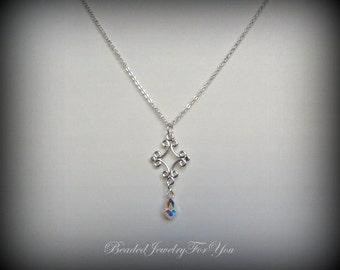 Crystal Drop Necklace: Jewelry For Brides, Handmade Jewelry, Crystal Jewelry, Silver Necklace, Bridal Jewelry, Bridal Sets, Custom Jewelry