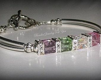 Personalized Birthstone Mothers Bracelet:, Moms Birthstone Jewelry, Custom Made Bracelet, Bracelets for Women, Birthstone Bracelet, Moms