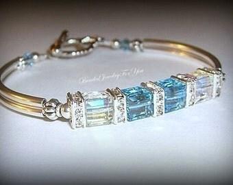Bridesmaid Gift Set of SIX: Aquamarine Crystal AB Bangle Bracelet, Blue White Jewelry, Crystal Bracelet, Something Blue, Jewelry For Brides