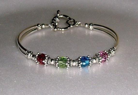 Birthstone Mother S Bangle Bracelet By Beadedjewelryforyou