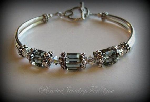 Bridesmaid Bracelet: bridesmaid jewelry, bridal jewelry, wedding bracelet, mother of bride, black diamond bridal gift, bride, flower girl