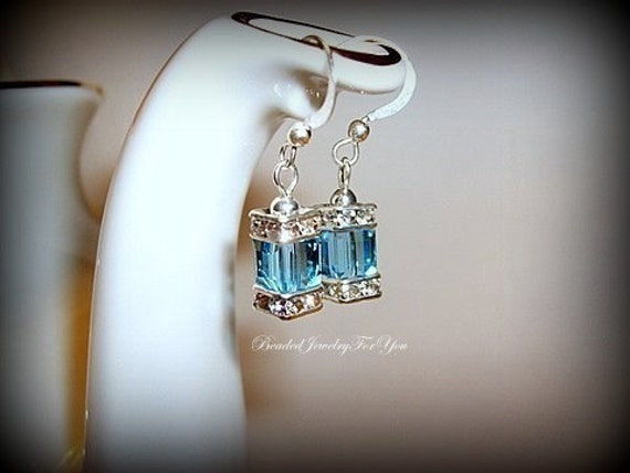 Bridesmaid Earrings: Bridal Party Jewelry, Crystal Wedding Jewelry, Bridesmaid Earrings, Wedding Earrings, Blue Bridal earrings, Bridesmaid