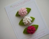 Set of 3 baby flower wool felt hair clip