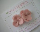 2 baby pink pansy wool felt hair clip