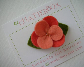1 peach pansy wool felt hair clip