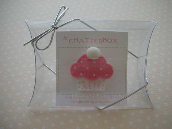 Small clear pillow box with silver loop ribbon