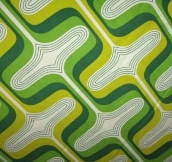 70s Vintage Wild Wall Art Decor Bold Green Retro Craft Cotton