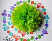 Tissue Pom Poms and Cupcake Garland Polka Dots strand Party Decoration