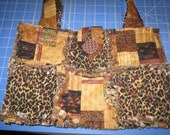 SALE New Safari Jungle Rag Quilt Purse Tote Bag