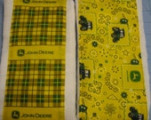Fantastic Yellow John Deere Set of 2 Baby Burp Cloths