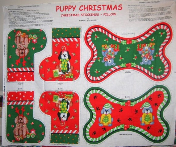 New Fabric Panel Puppy Christmas Stockings and Bone Pillow or Pillows