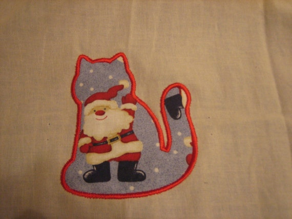 Applique Christmas Santa Claus Cat Flour Sack Towel