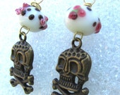 Skulls and Roses Lampwork Bead Rocker Earrings