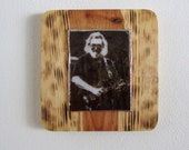Handmade Fused Glass and Wood Jerry Garcia Artwork
