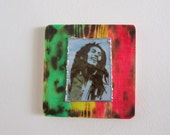 Handmade Fused Glass and Wood Bob Marley Artwork