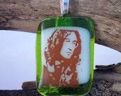 John Lennon Fused Glass Pendant