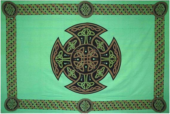 Celtic Viking Cross Tapestry in Forest Green