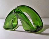 Kilnformed Green Recycled Wine Bottle Ring Business Card Holder