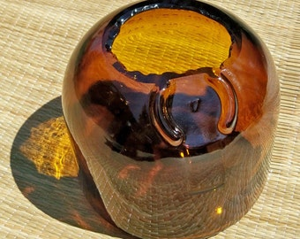 Amber Recycled Grand Marnier Vase