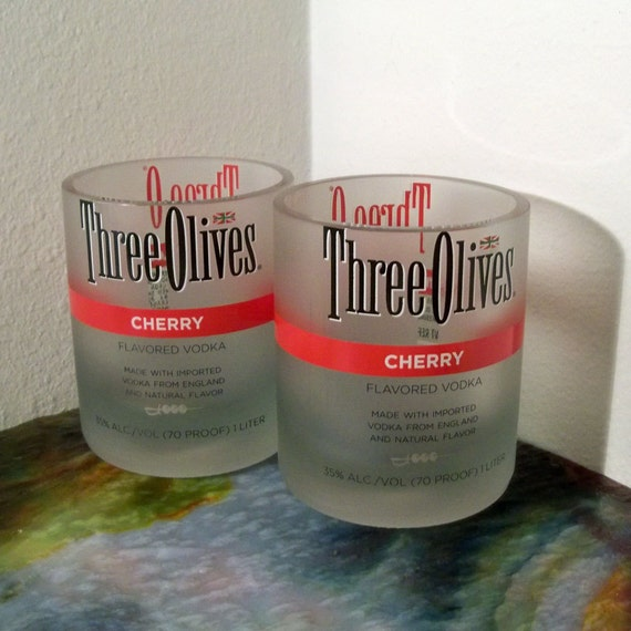 SALE Recycled Glass Tumblers Three Olives Cherry Vodka
