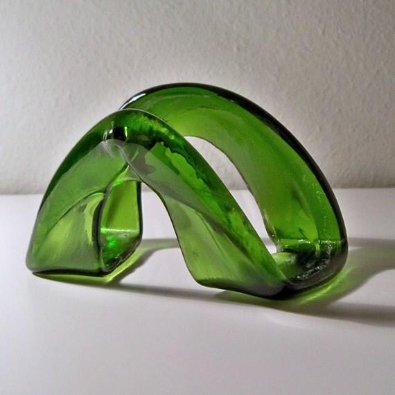 Kilnformed Green Recycled Wine Bottle Ring Business Card Holder