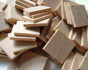 1'' Flat Wooden Squares - Set of 15 - Great for Pendants and Magnets