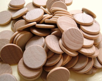 3/4'' Flat Wooden Circles - Set of 8 - Great for Pendants and Magnets